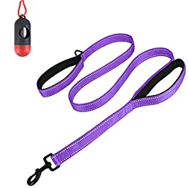 Belababy Large Dog Leash, 5ft Double Handles Dog Lead, Heavy Duty Strong Nylon Reflective Dog Leash, 1.5m Leash Perfect for Large Medium or Small Dog