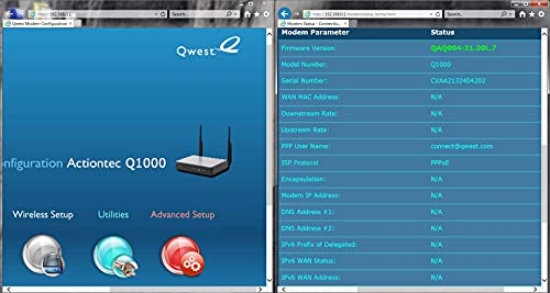 Actiontec Q1000 for Qwest Wireless N VDSL Modem Router (Renewed)