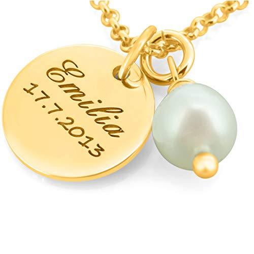 Namenskette gold aus 925 Silber mit Gravur ❤️ Silberkette vergoldet mit Namen ❤️ Schmuck mit Kindernamen Perle ❤️ Schmuck für Mama Oma | HANDMADE IN GERMANY