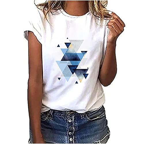 Blusa de mujer de manga corta, parte superior de verano, estampada, camiseta básica, moderna, cuello redondo, adolescente, niña, camisa, blusa, túnica, fitness, deporte Blanco-S. XXL