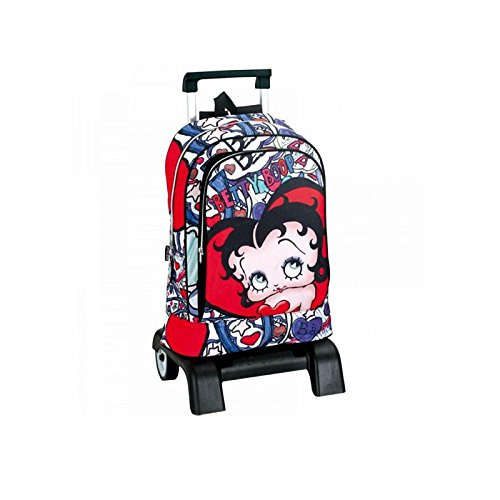 Betty Boop-Zaino con ruote, motivo: Betty Boop Lips, 40 CM, modello trolley, di alta qualità-Cartella