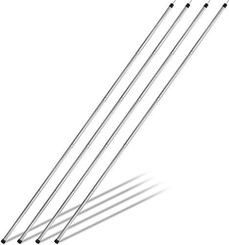 Aluminium Zeltstange - Kurzes Packmaß - Aufstellstange Abstütztstange von 120-300 cm für Tarps, Planen, Vorzelt, Sonnensegel, Tarnnetz oder Zelteingang Farbe Alu - 4 Stück