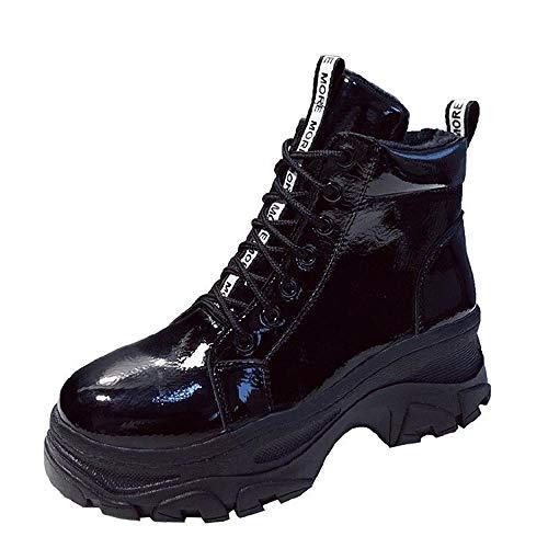 LZGS Damen schwarz Martin Stiefel ins Herbst Lackleder dicken Boden Flut Schuhe Stiefeletten-schwarz...