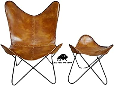 Tan Brown Vintage Leather Arm Butterfly Chair   Genuine Tan Leather Butterfly Chair Home Décor   Classic Handmade Chair (with