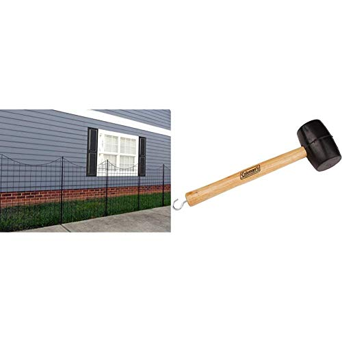 "Zippity Outdoor Products WF29002 Garden Metal Fence 42"" 1 Box (5 Panels & 6 Stakes) & Coleman Rubber Mallet with Tent Peg Remover"