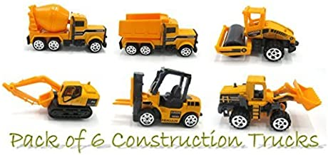 Toy Cubby Construction Trucks - Pack of 6 - Includes A Dumper, Bulldozers, Forklift, Tank Truck , Asphalt Car and Excavator - Ideal Gift!