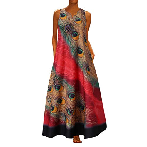 BOIYI mi Partykleider Freizeit Blusenkleider festkleid Wickelkleider großen Split Kaftan Damenkleider(rot,XL)