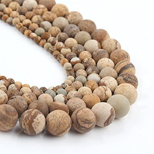YELVQI Borla Beads de Piedra Natural Mate Apagado Polaco Agata Picasso Howlite Cubiertos de Cuarzo para la joyería Que Hace Bricolaje Pulsera Minerals Bead (Color : Picture Jasper, Size : 6mm 61pcs)