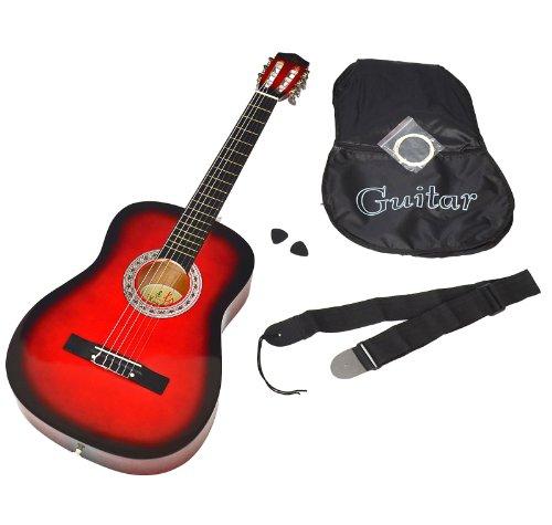 Ts-Ideen 5264 Akustik Gitarre Klassikgitarre Konzertgitarre mit Tasche, Gurt, Saiten und Plektrum rot/schwarz