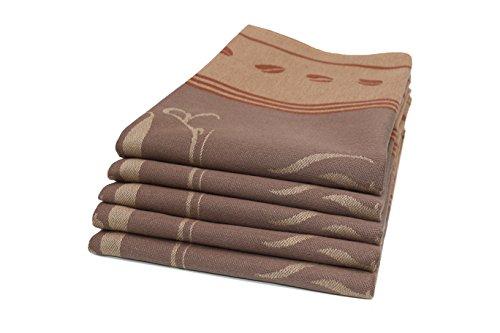 Zollner Set de 5 paños de cocina de algodón, 50x70 cm, marrón, otros colores
