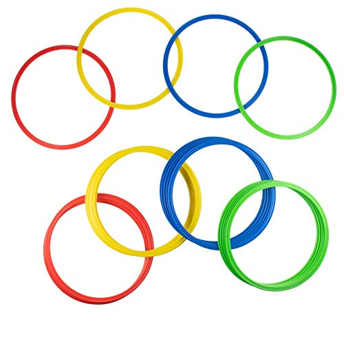 Juvale 24-Pack Speed and Agility Training Rings forTrainers, Gyms, Athletics, 4 Assorted Colors, Red, Yellow, Blue, and Green
