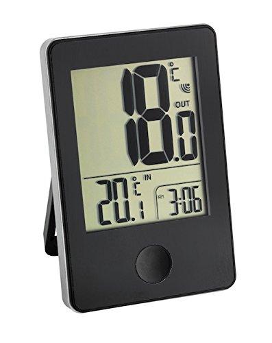 TFA Dostmann Pop draadloze thermometer, buiten- of binnentemperatuur in groot formaat, weergave van het horloge zwart