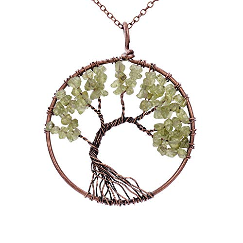 Handmade Family Root Tree of Life Natural Raw Tumbled Semi Precious Peridot Stone Quartz Pendant Necklace Healing Wire Wrapped Gemstone Birth Stone Necklaces Jewelry for Women Mother