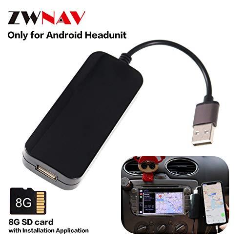 ZWNAV USB Carplay Dongle, Adaptador de Espejo Entre Teléfono Inteligente y Radio Android, Compatible con iPhone y Teléfono Android. Regalo: Tarjeta de Memoria de 8GB con Aplicación de Instalación.
