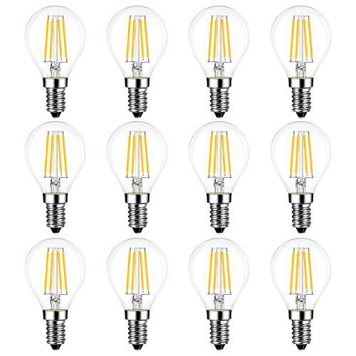 12X Lampadina Filamento LED E14, 4W Equivalenti a 40W, 470Lm, Luce Bianca Calda 2700K, LVWIT Mini Globo G45, Non dimmerabile.