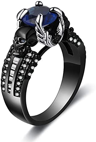 FDCJYP Gothic Skull Rings Retro Vintage Black Gold Plated Heart Shape Stone Gothic Skull Style Statement Party Ring