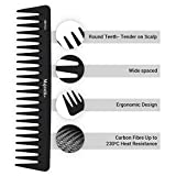 Peigne à dents larges - Peigne à cheveux professionnel en fibre de carbone de Majestik +, antistatique, force et durabilité, noir, avec pochette de produit en PVC sur mesure