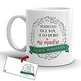 Kembilove Taza Desayuno para Madres – Tazas Originales Graciosas con Mensaje Todo lo que soy, se lo debo a mi madre – Taza de Café y Té para Madres para regalar el día de la madre