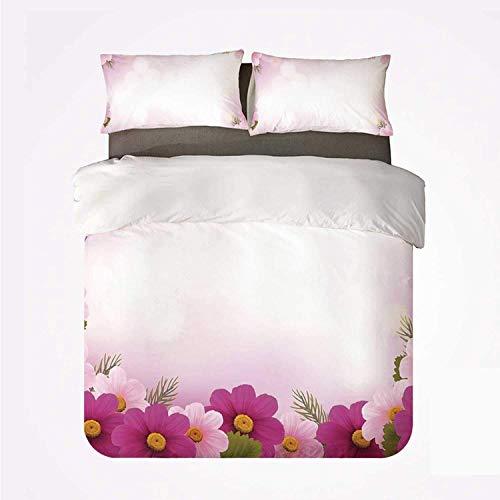 Popun Duvet Cover Set Pink Warm 3 Bedding Set,Framework with Romantic Daisies Valentines Day Decor Celebration Theme for Room
