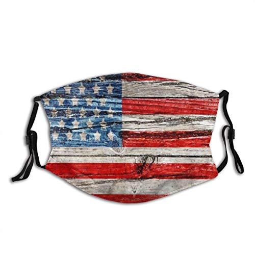 Gesichtsschal, USA Alte bemalte amerikanische Flagge auf dunklem Holzzaun Komfortabler staubdichter Schal zum Laufen Laufen, 20x15cm