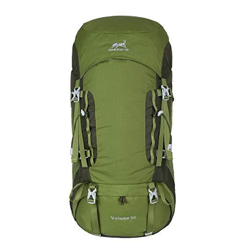 Eshow 50L Mochilas de Montaña Acampada al Aire Libre Impermeable Macutos de Viaje Senderismo Trekking con Cubierta de Lluvia Verde