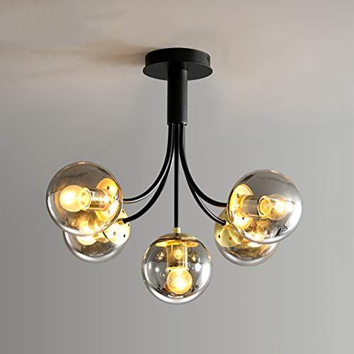 E27 Hierro Lámpara De Araña,Magic Bean Vidrio Iluminación Colgante,LED Techo Iluminación De Techo Moderno Restaurante Lámparas De Araña Fácil De Instalar-Gris humo a 5 cabezas