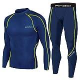 1Bests - Juego de 2 piezas de entrenamiento, camuflaje, para correr, con mallas, para hombre, secado rápido, KBOO-Dark Blue, XXL