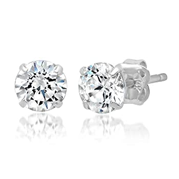 14k Solid White Gold ROUND Stud Earrings with Genuine Swarovski Zirconia   1.0 CT.TW   With Gift Box