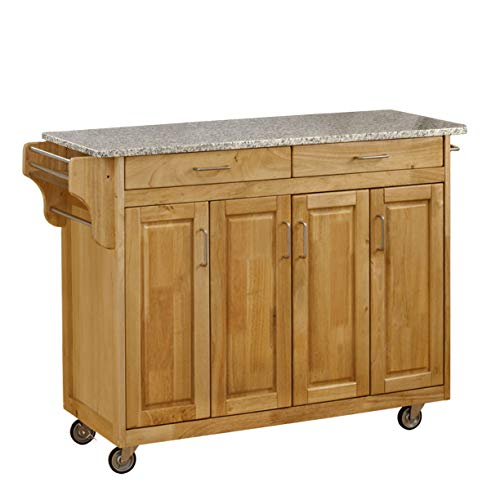 Create-a-Cart Natural 4 Door Cabinet Kitchen Cart with Gray Granite Top by Home Styles