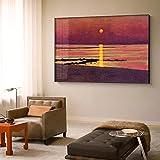 Impresiones en lienzo Seaside sunset Pinturas al óleo retro Cuadros de arte de pared Poaters Sala de estar Dormitorio Hoom Decoración de pared 27.5 'x39.4' (70x100cm) Sin marco