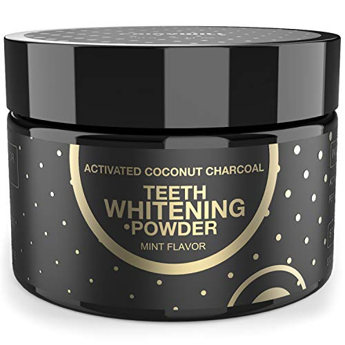Activated Charcoal Teeth Whitening Powder Peppermint Flavor, Whiten Teeth by Natural Coconut Activated Charcoal Gently for Enamel 2.11 oz
