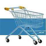 Goodvk Carritos de Compras para Niños Los niños de Plegado supermercado Compras Mini casa del Juego Grande de la Carretilla de Juguete Juguete Divertido (Color : Azul, Size : 49x32x54CM)