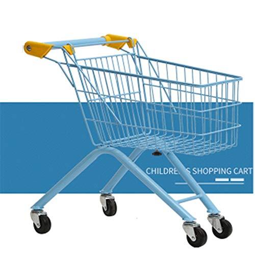 QuRRong Carrito de Compras de Juguetes Los niños de Plegado supermercado Compras Mini casa del Juego Grande de la Carretilla de Juguete para Niños y Niñas (Color : Azul, Size : 49x32x54CM)