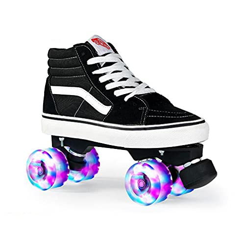 ZXSZX Zapatos Doble Rodillo Mujeres Hombres, Rodillos Baile Classic 4 PU Rueda LED Scooter Scooter Scooter Patines Doble Fila Adultos Unisex Interiores Exteriores,Black-42