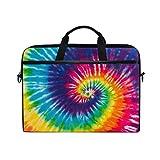 JOYPRINT Laptop Sleeve Case, Abstract Swirl Tie Dye Rainbow 14-14.5 inch Briefcase Messenger Notebook Computer Bag with Shoulder Strap Handle for Men Women Boy Girls