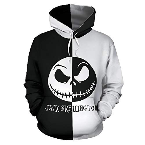 Alwoe The Nightmare Before Christmas 3D Style New Classic Cosplay Hooded Sweatshirt Clothing/Adult Black/White