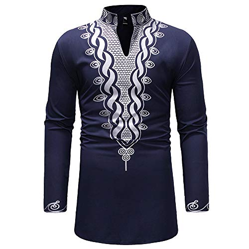 Mens Shirts, Mens Dashiki African Tribal Clothing Printed Long Henley Shirt Traditional Ethnic Slim Fit Outfit Plus Size Navy
