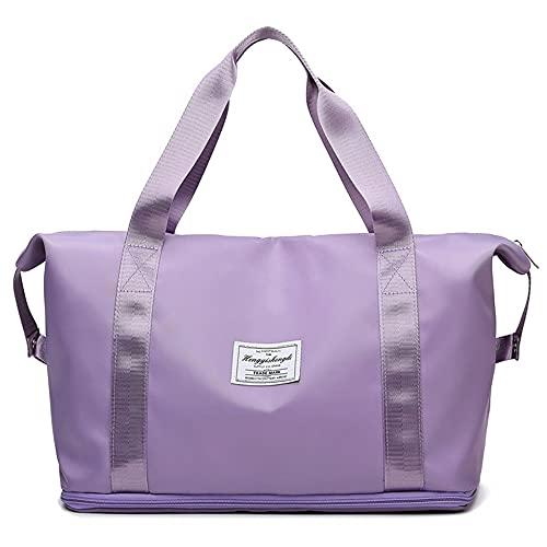Bolsa de deporte para gimnasio, bolsas de lona livianas para fines de semana, bolsa de yoga para el fin de semana, Purple, 50,