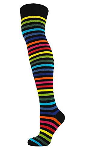 Mysocks Unisex Overknee Socken dünn Streifen neu dunkel Regenbogen
