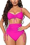Meyeeka Women's Two Pieces Bikini Sets Brazilian Cut Ruched Tummy Control Bottom Swimsuits L