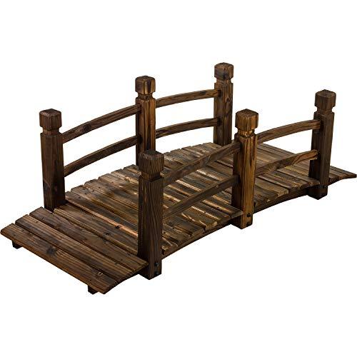 Maxstore Rustikale Massive Holzbrücke, braun, 150 x 67 x 55 cm, Teichbrücke geölt und brandbehandelt, Gartenbrücke bis 150 kg belastbar