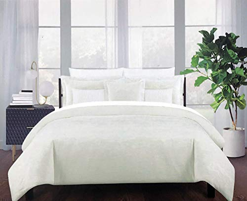 Tahari Home Bedding Full/Queen Size Luxury Cotton 3 Piece Duvet Cover Pillowcases Shams Set Raised Woven Jacquard Abstract Pattern in Light Cream on a Lighter Cream Background -- Moire Jacquard, Ivory