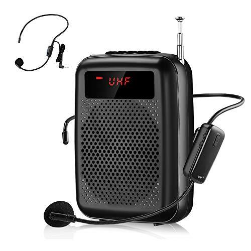Amplificador de voz con inalambrico, 12 Vatios (2000 mAh) Recargable Amplificador de voz Portátil Bluetooth de sistema PA para Guía turístico, Entrenamiento