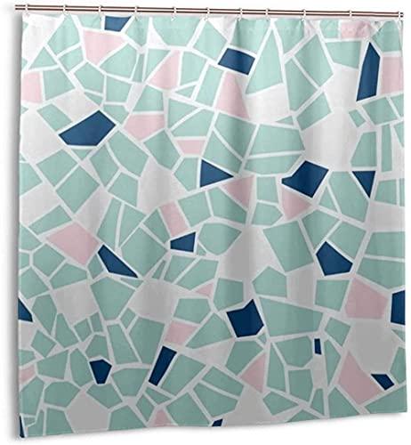 Cortina de Ducha, azulejo de Mosaico Rosa Azul, Cortina de baño de Tela Impermeable para decoración de baño con ganchos180 * 180cm oein