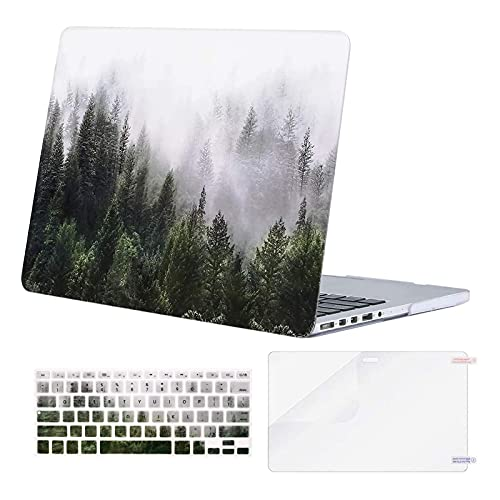 MOSISO Compatible with MacBook Pro 13 inch Case 2015 2014 2013 end 2012 A1502 A1425 with Retina Display, Protective Plastic Pattern Hard Shell Case & Keyboard Cover & Screen Protector, Green Forest