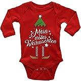 Mikalino Babybody mit Spruch für Jungen Mädchen Unisex Langarm Mein erstes Weihnachten (Weihnachts-Elf) | handbedruckt in Deutschland | Handmade with Love, Farbe:rot, Grösse:80