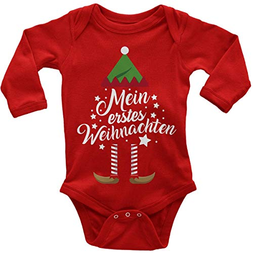 Mikalino Babybody mit Spruch für Jungen Mädchen Unisex Langarm Mein erstes Weihnachten (Weihnachts-Elf) | handbedruckt in Deutschland | Handmade with Love, Farbe:rot, Grösse:74