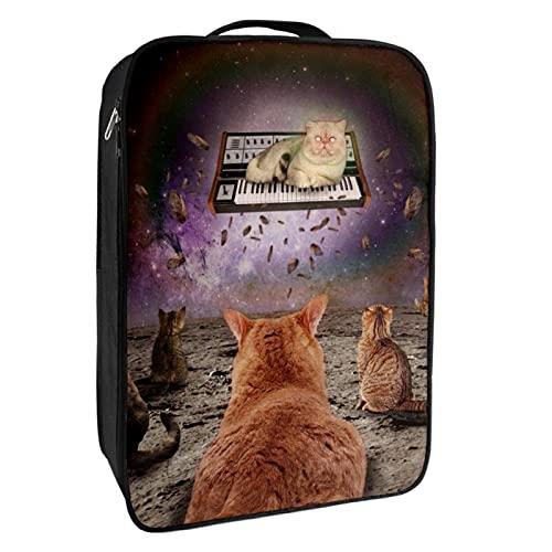 Scatola portaoggetti per scarpe da viaggio e uso quotidiano con tastiera a gatti, cielo stellato, organizer portatile impermeabile fino a 12 metri con doppia cerniera 4 tasche