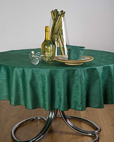 ESSE HOME – Línea Confestyl – Mantel Redondo para 8 personas – Fiandra Jacquard puro algodón – Fabricado en Italia – Producto artesanal – IRIS 598 (0/170, Mantel Verde oscuro)