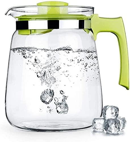 aipipl Jarra de Agua de Vidrio de 1.5L / 2L Jarra de té Helado Jarra de Agua fría y Caliente Botella de Agua Cafetera Jarra de Bebidas para té Helado casero y Taza de té de Jugo, Verde, 1500 ml